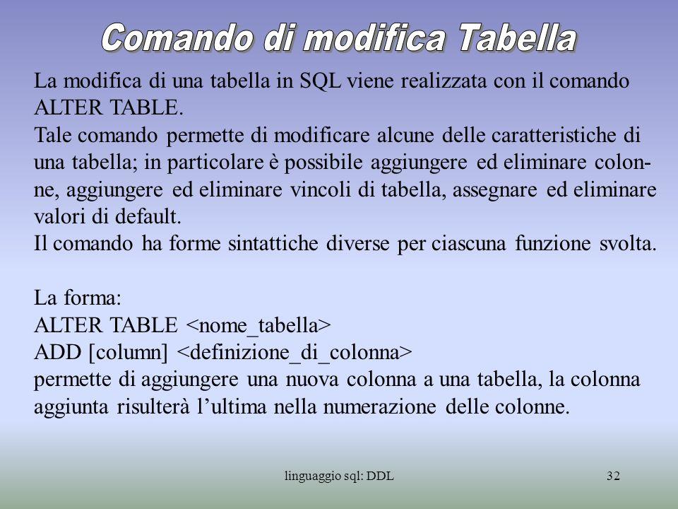 linguaggio sql: DDL33 La forma: ALTER TABLE DROP [column] {RESTRICT | CASCADE} permette di eliminare la definizione e i dati di una colonna da una tabella.