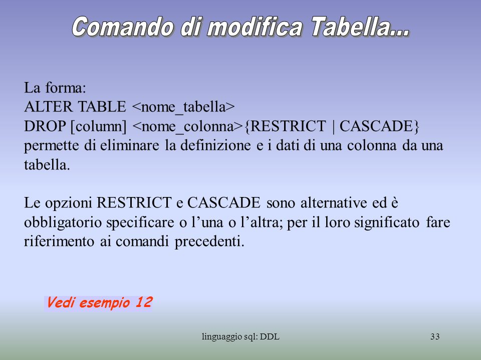 linguaggio sql: DDL33 La forma: ALTER TABLE DROP [column] {RESTRICT | CASCADE} permette di eliminare la definizione e i dati di una colonna da una tab