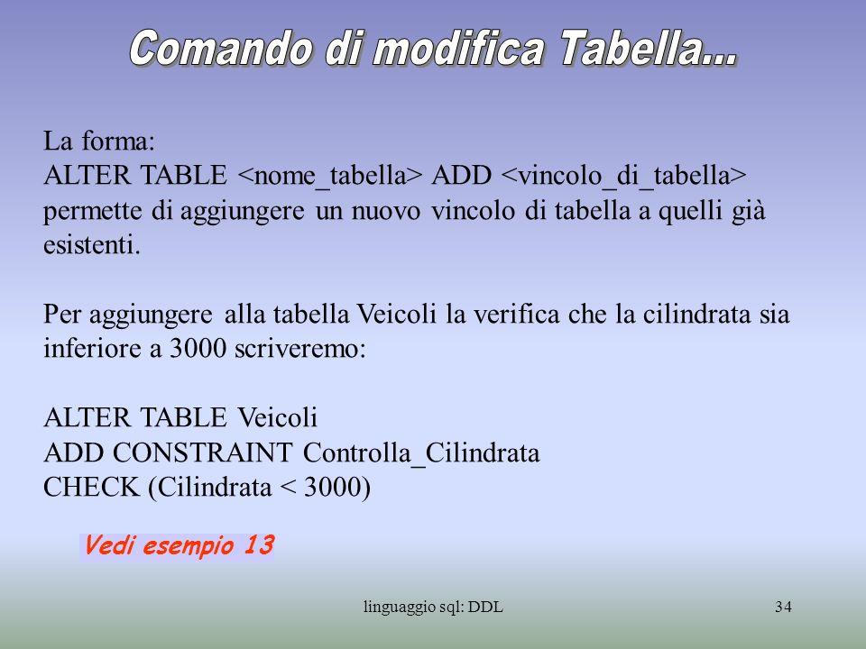 linguaggio sql: DDL35 La forma: ALTER TABLE ALTER [COLUNM] SET permette di aggiungere lassegnazione di un valore di default a una colonna.
