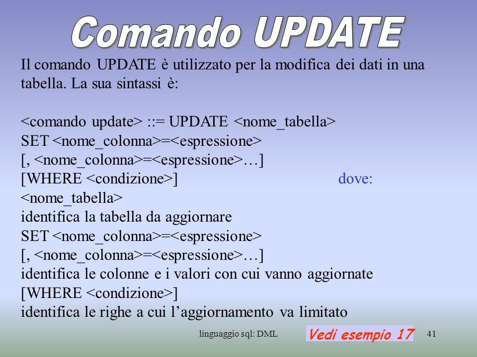 linguaggio sql: DML42 Il comando DELETE permette di effettuare la cancellazione di righe dati da una tabella.