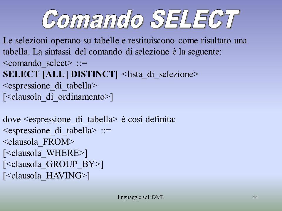 linguaggio sql: DML45 Nel comando è obbligatorio specificare, oltre alla, la clausola FROM.