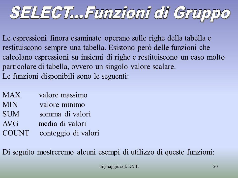 linguaggio sql: DML51 SELECT MAX(Cilindrata) Cilindrata massima FROM Veicoli SELECT AVG(Cilindrata) Cilindrata media FROM Veicoli SELECT COUNT(*) Numero Veicoli FROM Veicoli SELECT MIN(Cilindrata) Cilindrata minima FROM Veicoli WHERE Cod_Combustibile=01 Vedi esempio 23