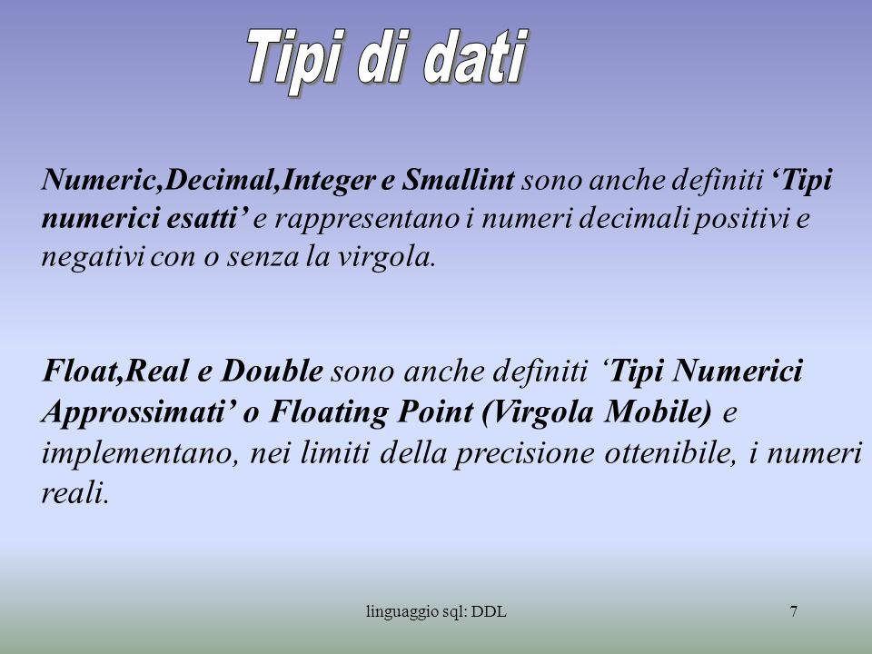 linguaggio sql: DDL8 I principali tipi di dati supportati dal linguaggio SQL, sono i seguenti: - CHARACTER - NUMERIC - DECIMAL - INTEGER - SMALLINT - FLOAT - REAL - DOUBLE PRECISION - DATE