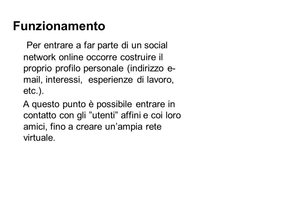 Funzionamento Per entrare a far parte di un social network online occorre costruire il proprio profilo personale (indirizzo e- mail, interessi, esperienze di lavoro, etc.).