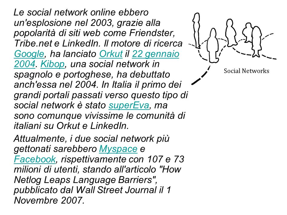 Le social network online ebbero un esplosione nel 2003, grazie alla popolarità di siti web come Friendster, Tribe.net e LinkedIn.