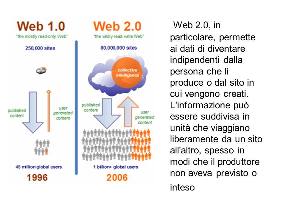 Web 2.0, in particolare, permette ai dati di diventare indipendenti dalla persona che li produce o dal sito in cui vengono creati. L'informazione può