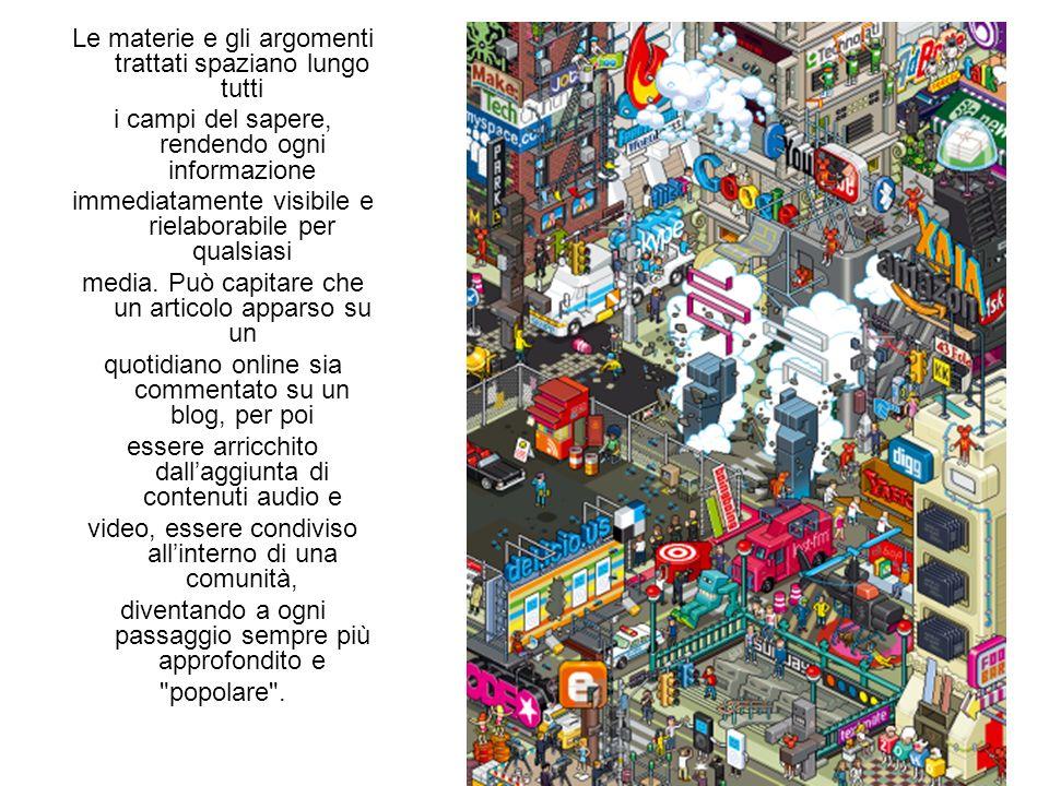 Le materie e gli argomenti trattati spaziano lungo tutti i campi del sapere, rendendo ogni informazione immediatamente visibile e rielaborabile per qualsiasi media.
