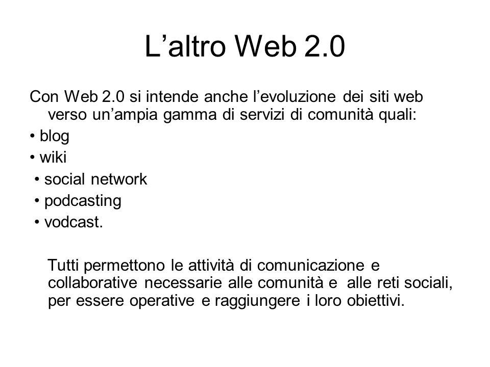 Laltro Web 2.0 Con Web 2.0 si intende anche levoluzione dei siti web verso unampia gamma di servizi di comunità quali: blog wiki social network podcasting vodcast.
