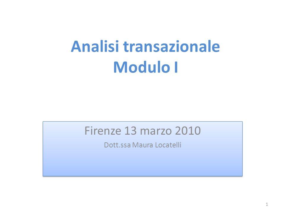 Analisi transazionale Modulo I Firenze 13 marzo 2010 Dott.ssa Maura Locatelli Firenze 13 marzo 2010 Dott.ssa Maura Locatelli 1