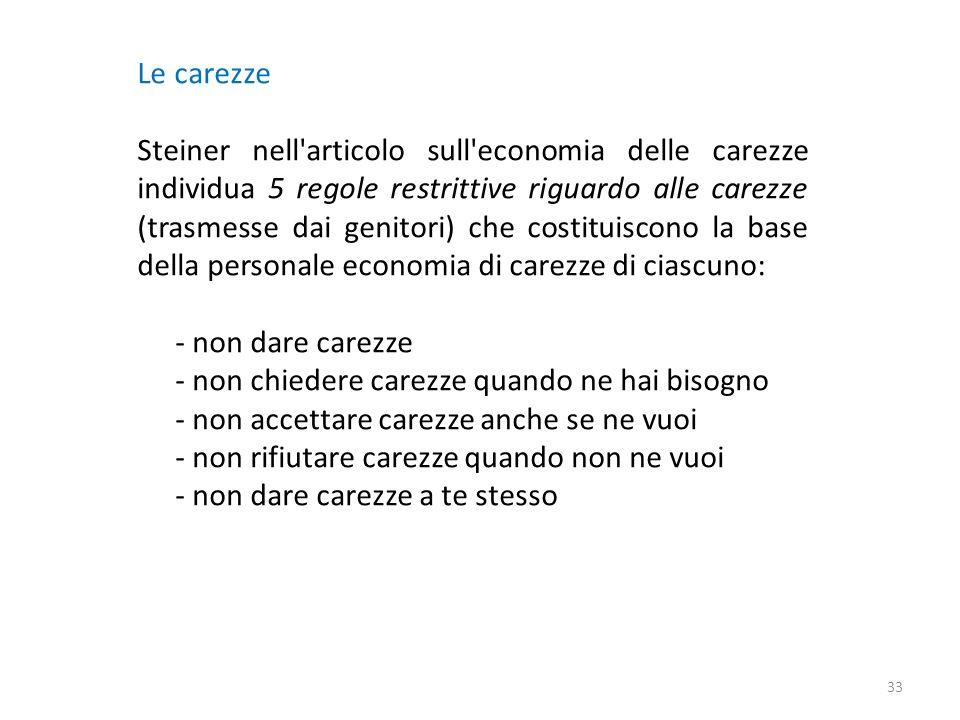 Le carezze Steiner nell'articolo sull'economia delle carezze individua 5 regole restrittive riguardo alle carezze (trasmesse dai genitori) che costitu