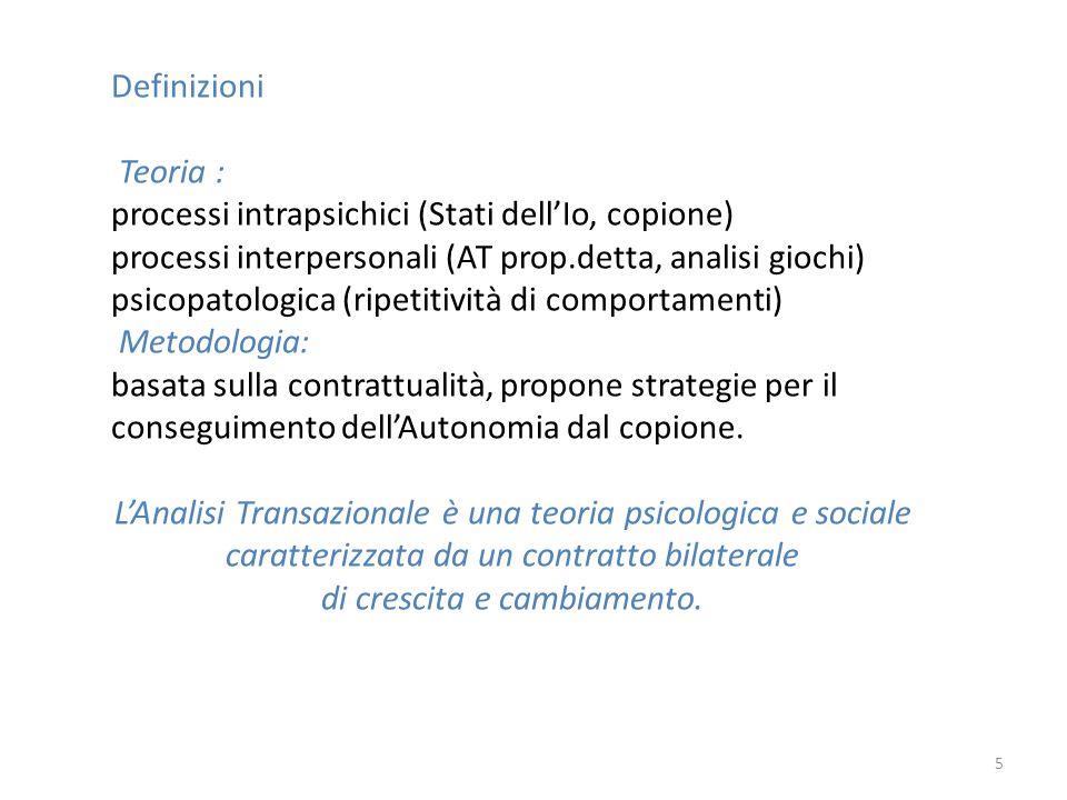 Definizioni Teoria : processi intrapsichici (Stati dellIo, copione) processi interpersonali (AT prop.detta, analisi giochi) psicopatologica (ripetitiv