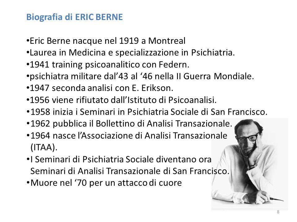 Biografia di ERIC BERNE Eric Berne nacque nel 1919 a Montreal Laurea in Medicina e specializzazione in Psichiatria. 1941 training psicoanalitico con F