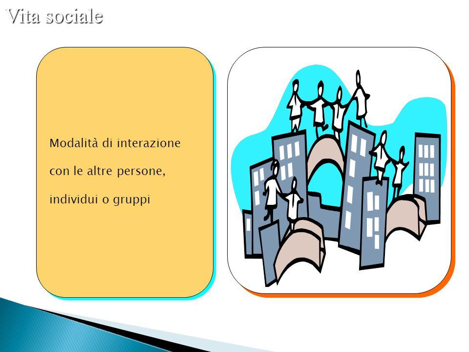 Modalità di interazione con le altre persone, individui o gruppi Modalità di interazione con le altre persone, individui o gruppi Vita sociale