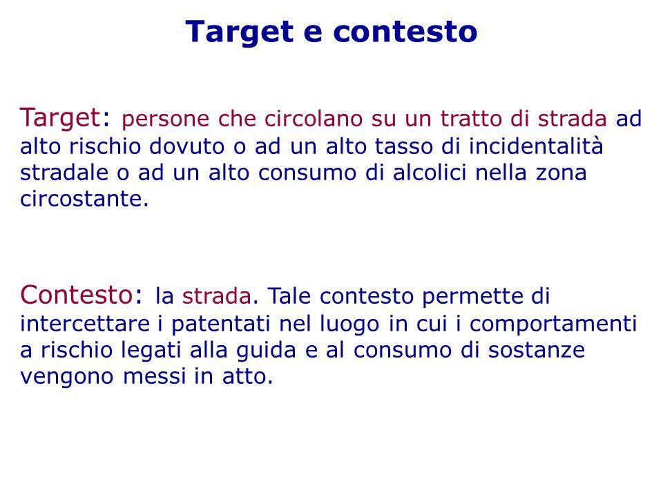 Target e contesto Target: persone che circolano su un tratto di strada ad alto rischio dovuto o ad un alto tasso di incidentalità stradale o ad un alto consumo di alcolici nella zona circostante.