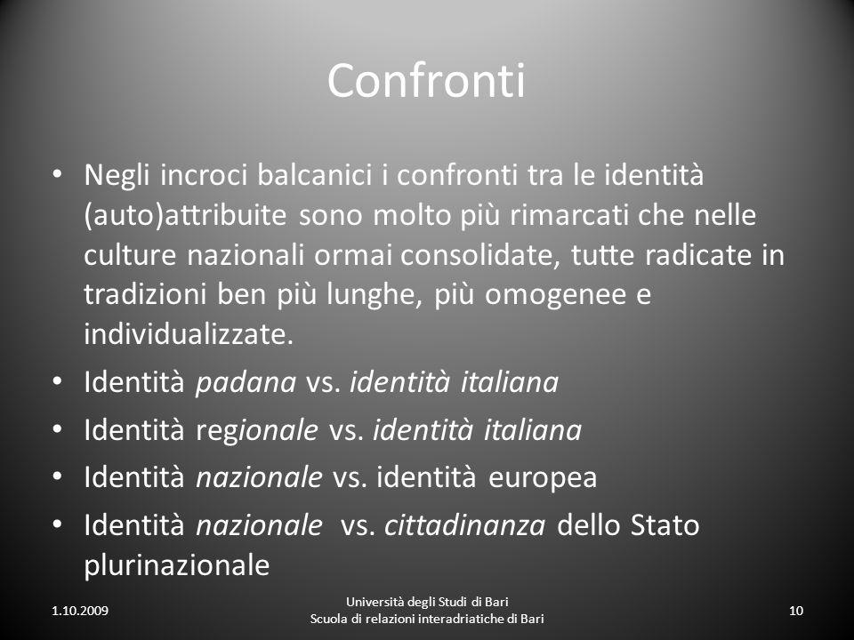 Confronti Negli incroci balcanici i confronti tra le identità (auto)attribuite sono molto più rimarcati che nelle culture nazionali ormai consolidate,