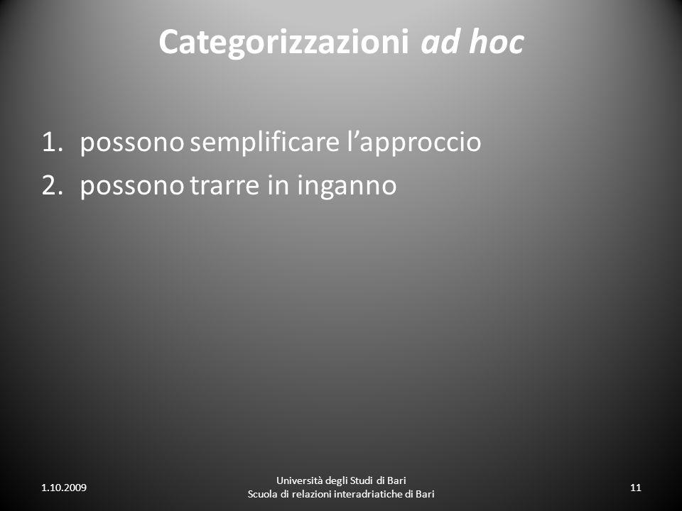Categorizzazioni ad hoc 1.possono semplificare lapproccio 2.possono trarre in inganno 1.10.2009 Università degli Studi di Bari Scuola di relazioni int