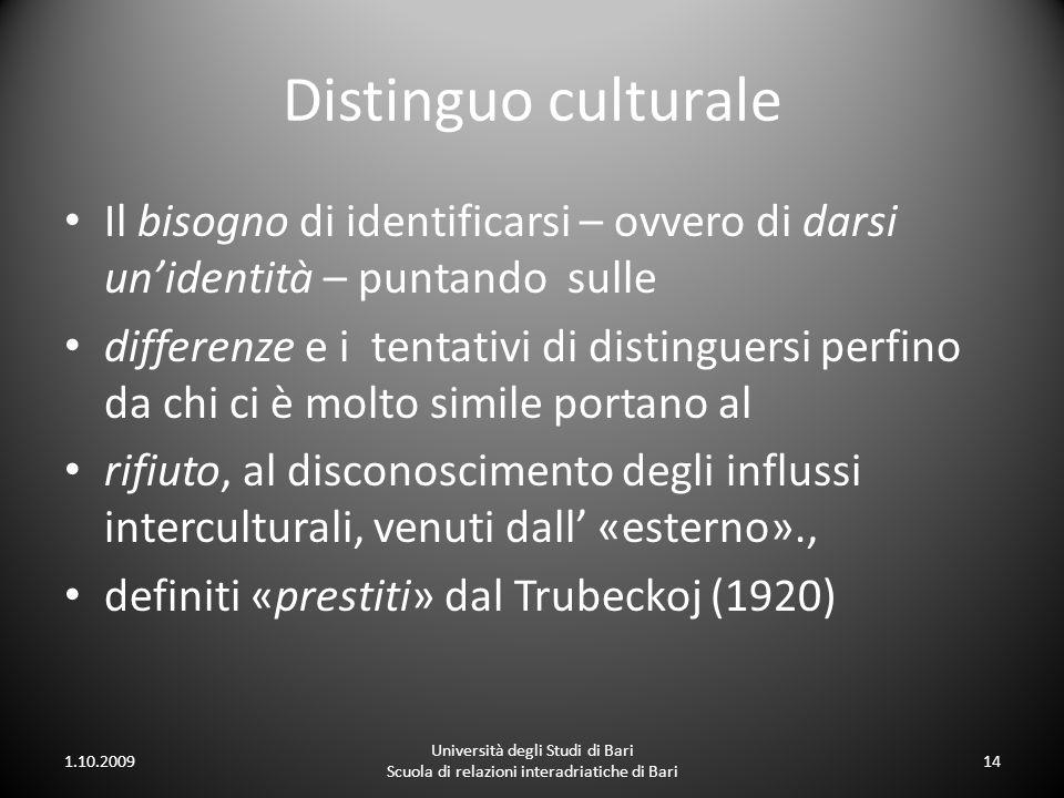 Distinguo culturale Il bisogno di identificarsi – ovvero di darsi unidentità – puntando sulle differenze e i tentativi di distinguersi perfino da chi