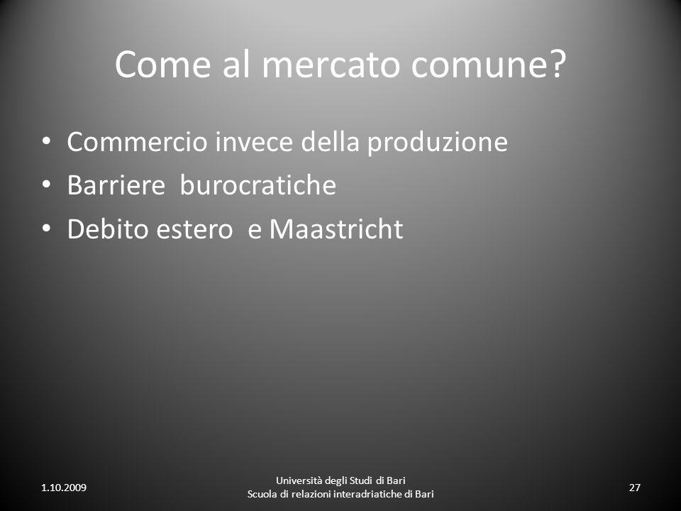 Come al mercato comune? Commercio invece della produzione Barriere burocratiche Debito estero e Maastricht 1.10.2009 Università degli Studi di Bari Sc