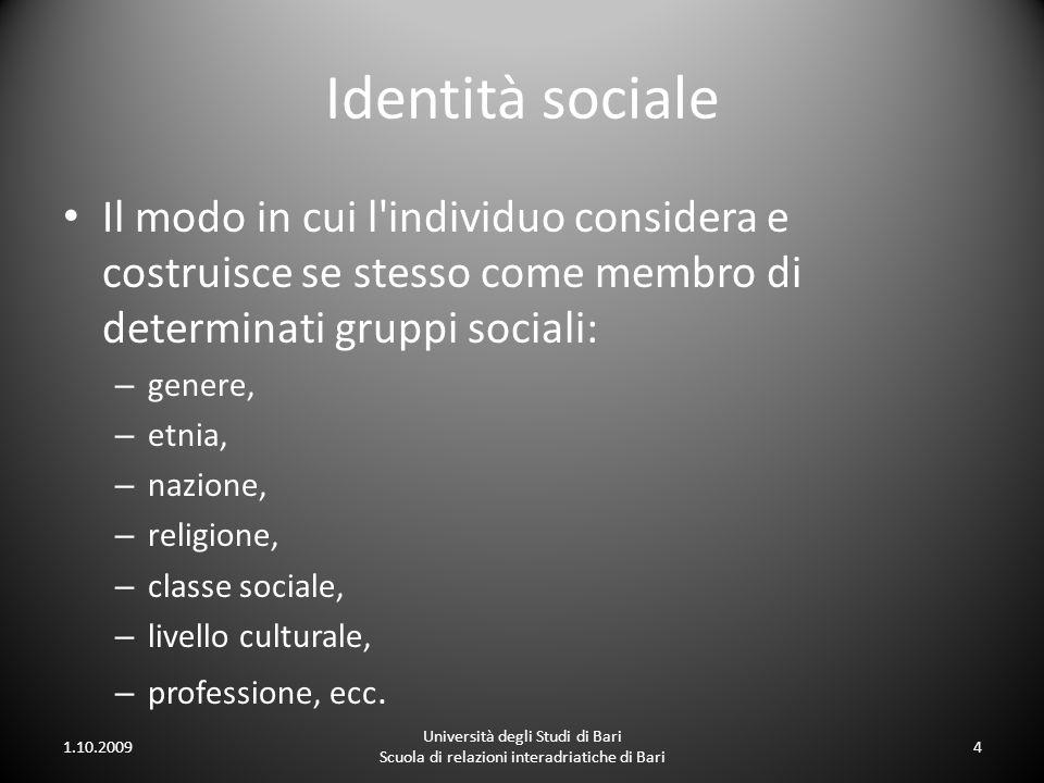 Identità sociale Il modo in cui l'individuo considera e costruisce se stesso come membro di determinati gruppi sociali: – genere, – etnia, – nazione,
