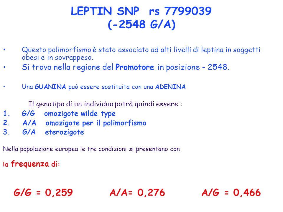 LEPTIN SNP rs 7799039 (-2548 G/A) Questo polimorfismo è stato associato ad alti livelli di leptina in soggetti obesi e in sovrappeso. Si trova nella r