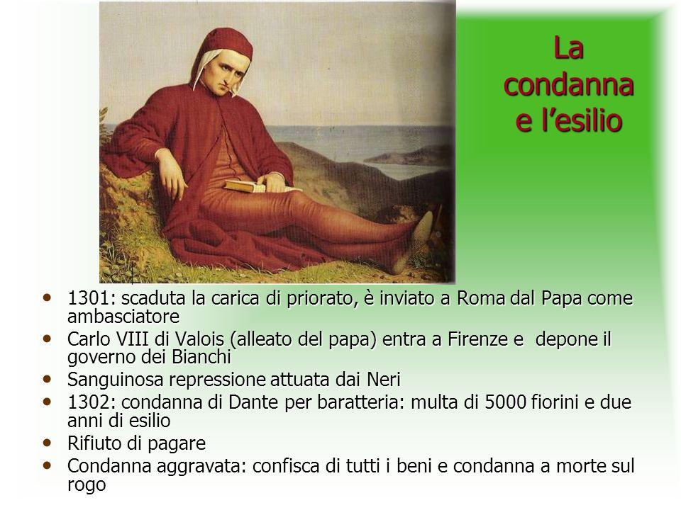 La condanna e lesilio 1301: scaduta la carica di priorato, è inviato a Roma dal Papa come ambasciatore 1301: scaduta la carica di priorato, è inviato