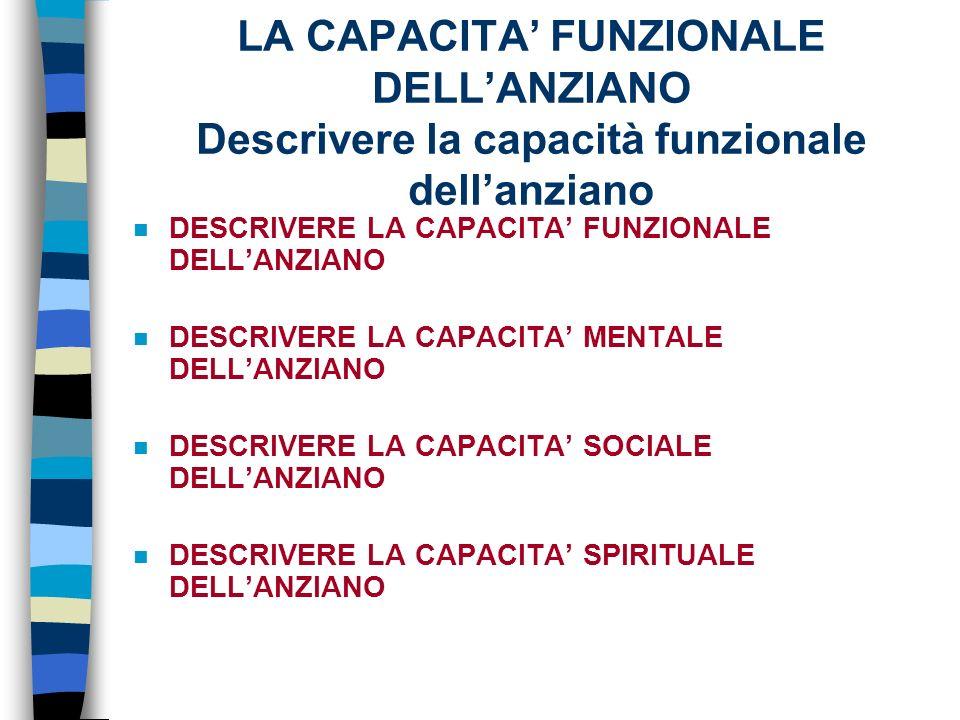 LA CAPACITA FUNZIONALE DELLANZIANO Descrivere la capacità funzionale dellanziano n DESCRIVERE LA CAPACITA FUNZIONALE DELLANZIANO n DESCRIVERE LA CAPACITA MENTALE DELLANZIANO n DESCRIVERE LA CAPACITA SOCIALE DELLANZIANO n DESCRIVERE LA CAPACITA SPIRITUALE DELLANZIANO