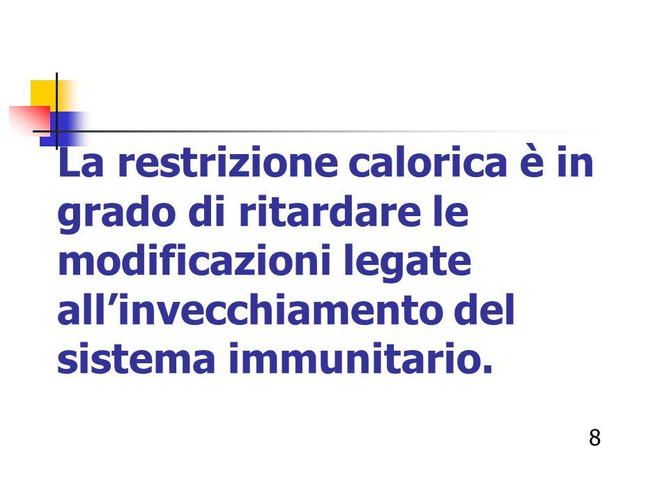 La restrizione calorica è in grado di ritardare le modificazioni legate allinvecchiamento del sistema immunitario. 8