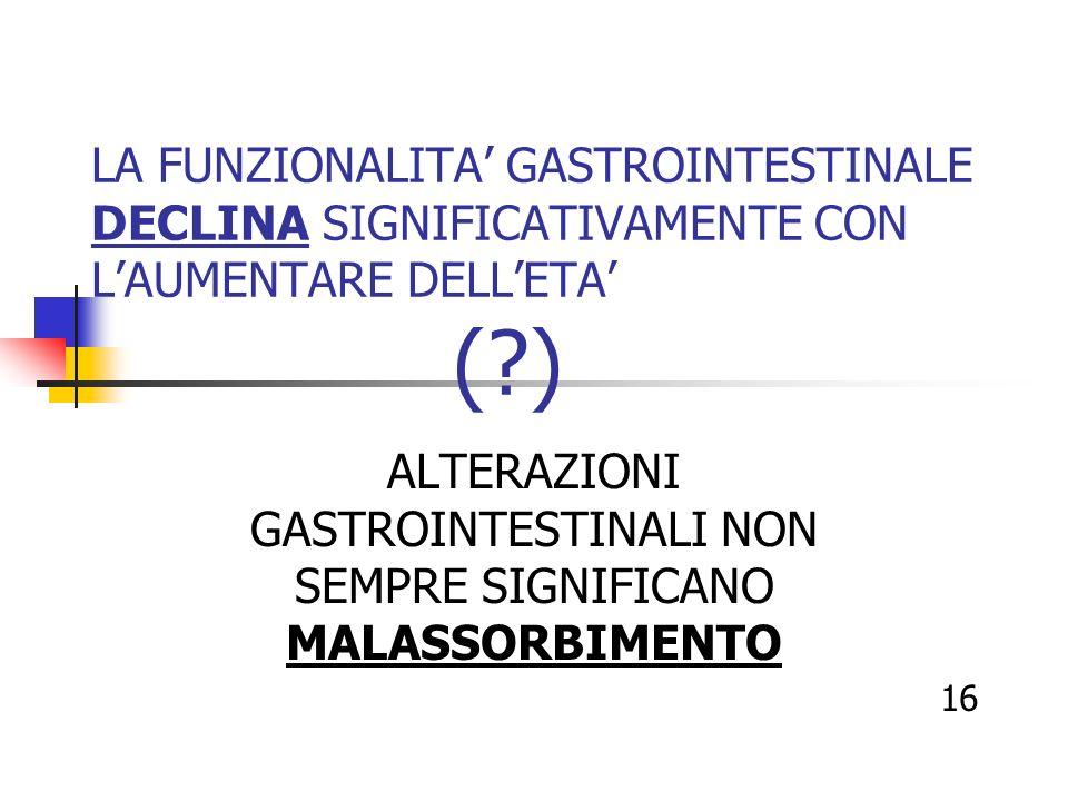 LA FUNZIONALITA GASTROINTESTINALE DECLINA SIGNIFICATIVAMENTE CON LAUMENTARE DELLETA (?) ALTERAZIONI GASTROINTESTINALI NON SEMPRE SIGNIFICANO MALASSORB