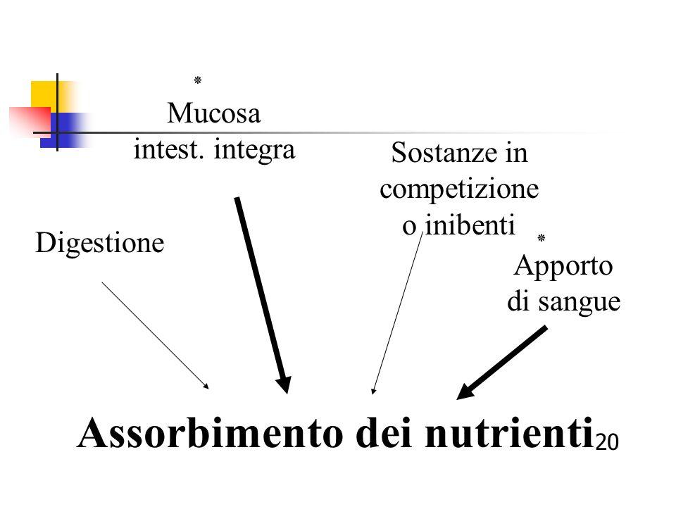Assorbimento dei nutrienti Digestione Mucosa intest. integra ٭ Sostanze in competizione o inibenti Apporto di sangue ٭ 20