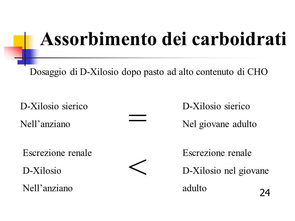 Assorbimento dei carboidrati Dosaggio di D-Xilosio dopo pasto ad alto contenuto di CHO D-Xilosio sierico Nellanziano D-Xilosio sierico Nel giovane adu
