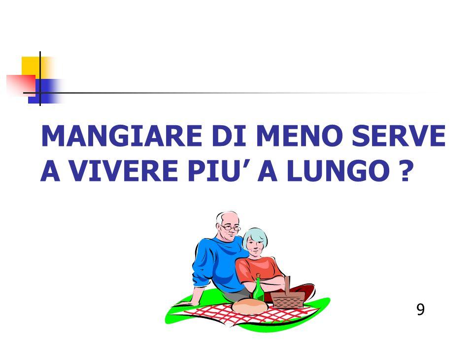 MANGIARE DI MENO SERVE A VIVERE PIU A LUNGO ? 9
