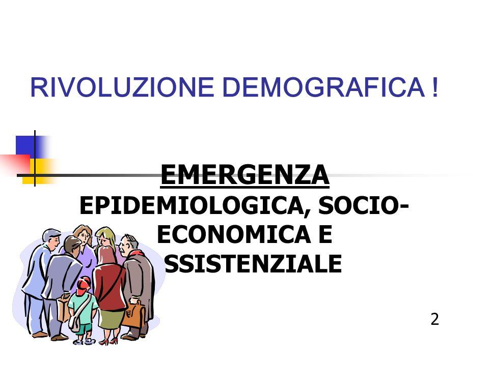 RIVOLUZIONE DEMOGRAFICA ! EMERGENZA EPIDEMIOLOGICA, SOCIO- ECONOMICA E ASSISTENZIALE 2