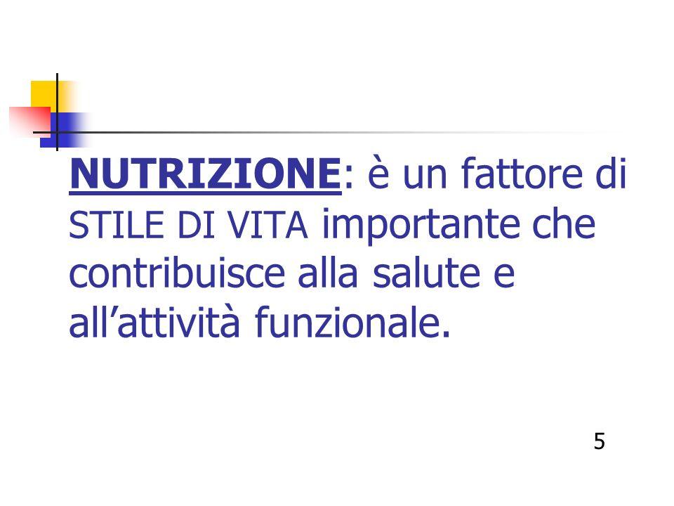 NUTRIZIONE: è un fattore di STILE DI VITA importante che contribuisce alla salute e allattività funzionale. 5