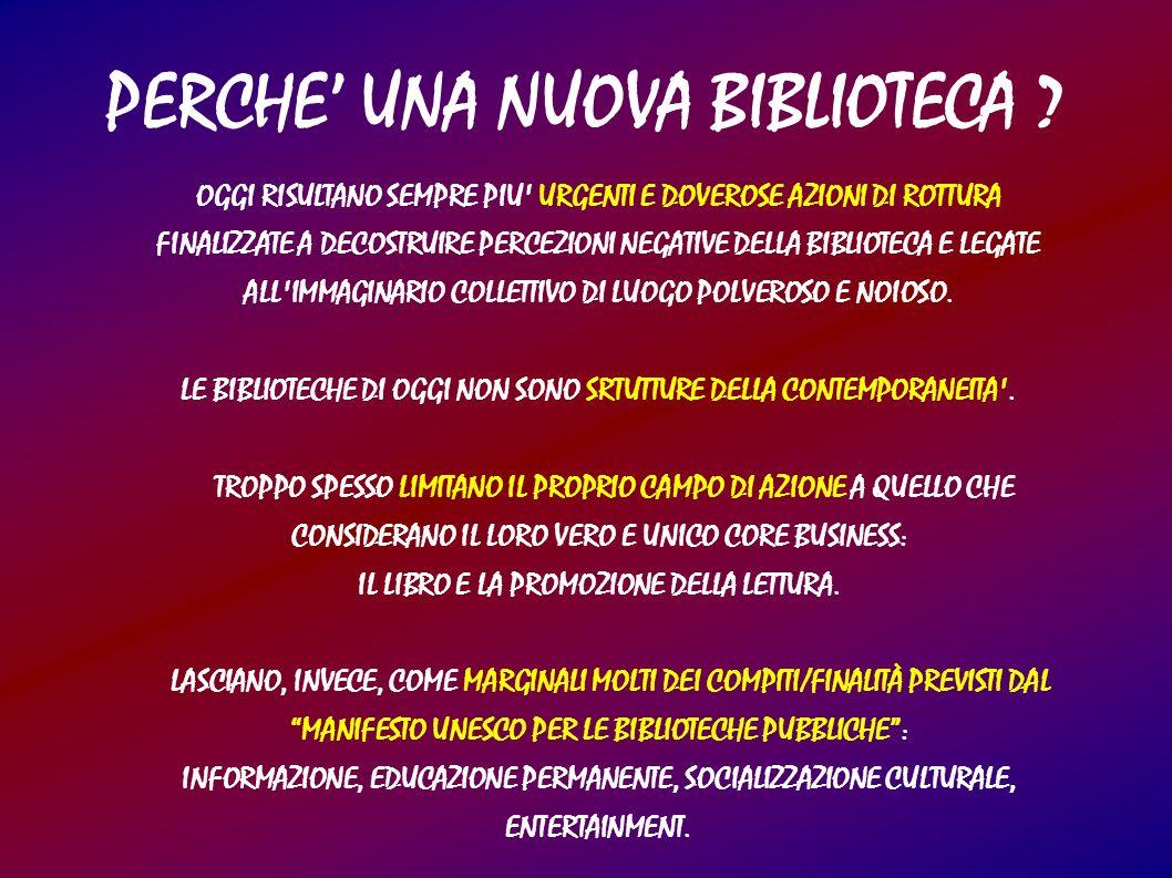 PERCHE UNA NUOVA BIBLIOTECA ? OGGI RISULTANO SEMPRE PIU' URGENTI E DOVEROSE AZIONI DI ROTTURA FINALIZZATE A DECOSTRUIRE PERCEZIONI NEGATIVE DELLA BIBL