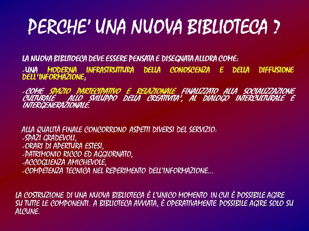 LA NUOVA BIBLITOECA DEVE ESSERE PENSATA E DISEGNATA ALLORA COME: UNA MODERNA INFRASTRUTTURA DELLA CONOSCENZA E DELLA DIFFUSIONE DELL INFORMAZIONE; COME SPAZIO PARTECIPATIVO E RELAZIONALE FINALIZZATO ALLA SOCIALIZZAZIONE CULTURALE ALLO SVILUPPO DELLA CREATIVITA , AL DIALOGO INTERCULTURALE E INTERGENERAZIONALE.