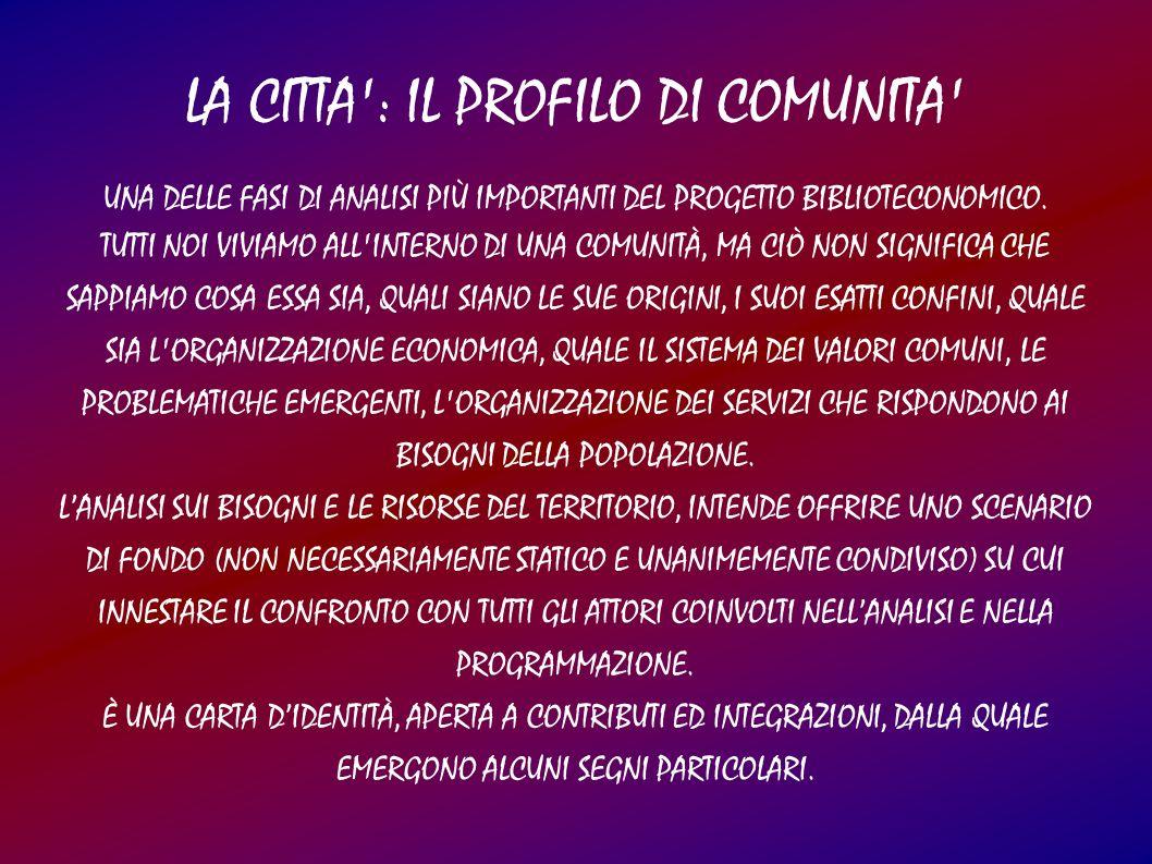 LA CITTA : IL PROFILO DI COMUNITA UNA DELLE FASI DI ANALISI PIÙ IMPORTANTI DEL PROGETTO BIBLIOTECONOMICO.
