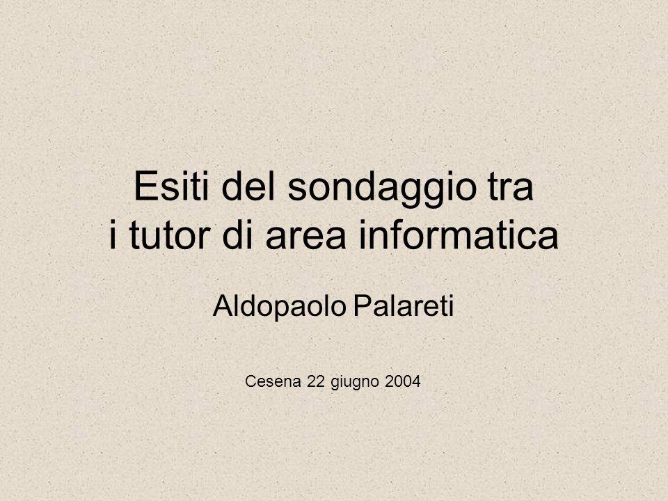Esiti del sondaggio tra i tutor di area informatica Aldopaolo Palareti Cesena 22 giugno 2004