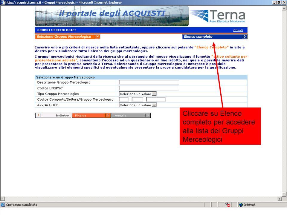 Cliccare su Elenco completo per accedere alla lista dei Gruppi Merceologici