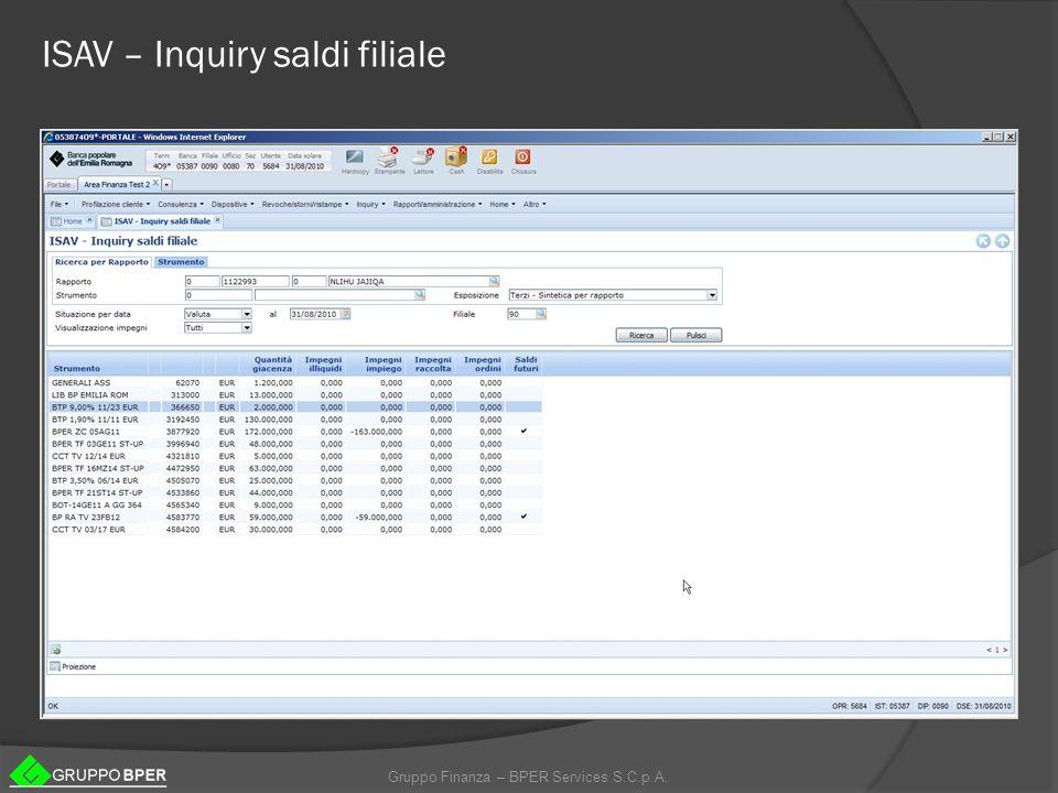Gruppo Finanza – BPER Services S.C.p.A. ISAV – Inquiry saldi filiale