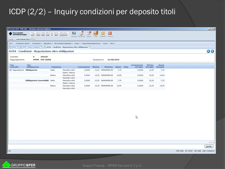 Gruppo Finanza – BPER Services S.C.p.A. ICDP (2/2) – Inquiry condizioni per deposito titoli