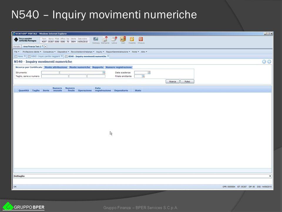 Gruppo Finanza – BPER Services S.C.p.A. N540 – Inquiry movimenti numeriche