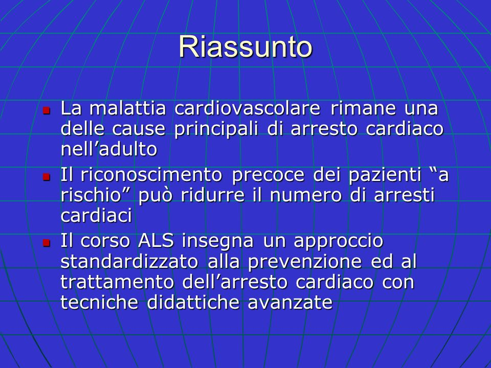 Riassunto La malattia cardiovascolare rimane una delle cause principali di arresto cardiaco nelladulto La malattia cardiovascolare rimane una delle ca