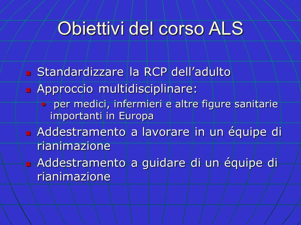 Obiettivi del corso ALS Standardizzare la RCP delladulto Standardizzare la RCP delladulto Approccio multidisciplinare: Approccio multidisciplinare: pe
