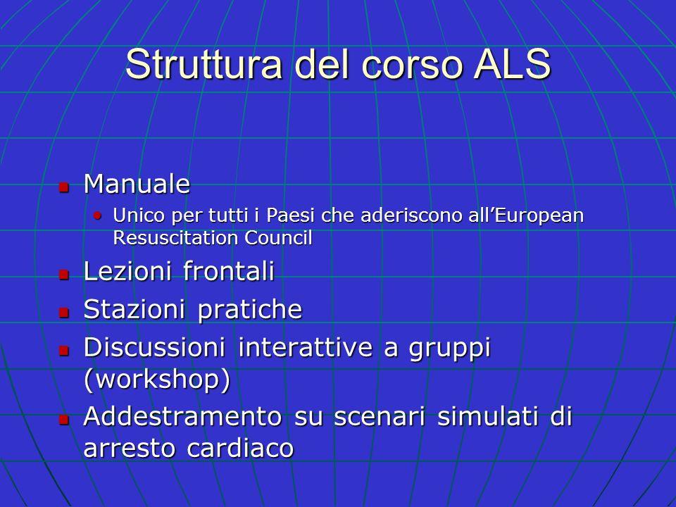 Struttura del corso ALS Manuale Manuale Unico per tutti i Paesi che aderiscono allEuropean Resuscitation Council Unico per tutti i Paesi che aderiscon