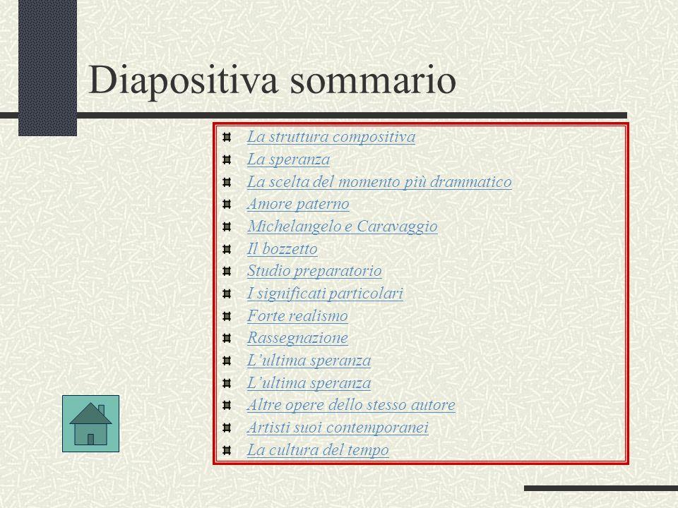 Diapositiva sommario La struttura compositiva La speranza La scelta del momento più drammatico Amore paterno Michelangelo e Caravaggio Il bozzetto Stu