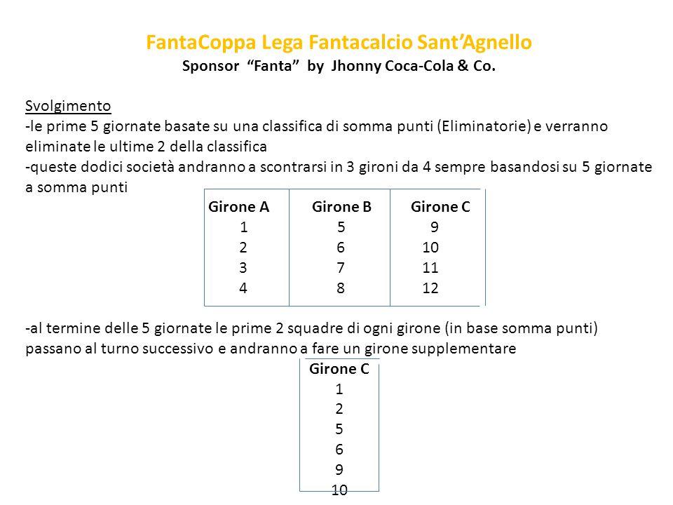 FantaCoppa Lega Fantacalcio SantAgnello Sponsor Fanta by Jhonny Coca-Cola & Co. Svolgimento -le prime 5 giornate basate su una classifica di somma pun