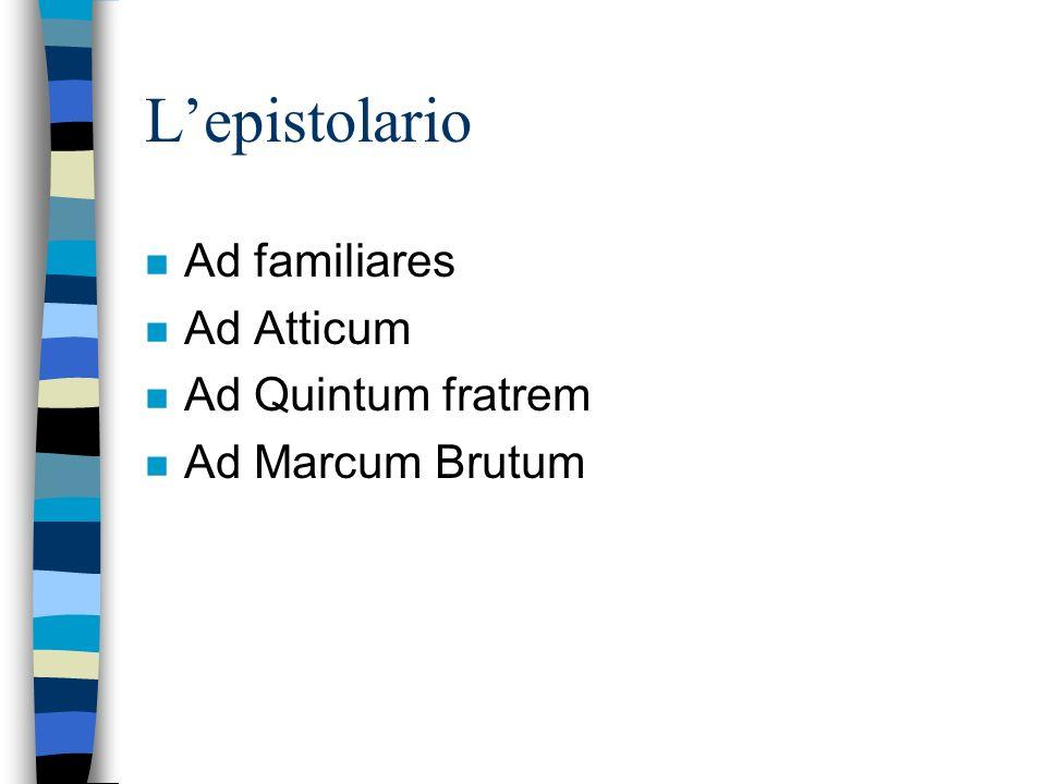 Lepistolario n Ad familiares n Ad Atticum n Ad Quintum fratrem n Ad Marcum Brutum