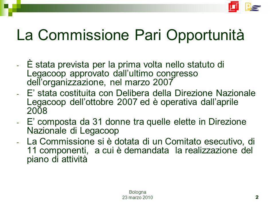 Bologna 23 marzo 2010 23 I lavori della Commissione PO Consultabili su Sito Legacoop : www.legacoop.coopwww.legacoop.coop Progetti strategici : Pari Opportunità