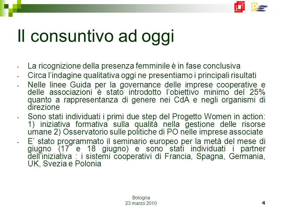 Bologna 23 marzo 2010 5 Lindagine Il potenziale femminile nelle imprese cooperative Domande a cui si è pensato che la ricerca dovesse fornire delle risposte: Esistono opportunità e criticità in materia di Pari Opportunità nelle imprese cooperative Legacoop.