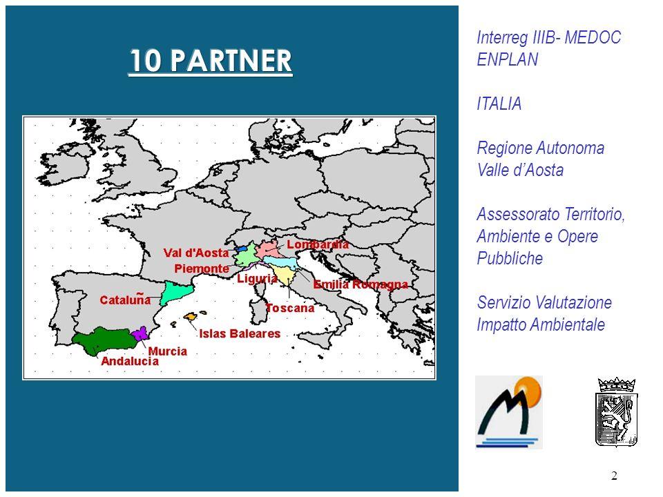 2 Interreg IIIB- MEDOC ENPLAN ITALIA Regione Autonoma Valle dAosta Assessorato Territorio, Ambiente e Opere Pubbliche Servizio Valutazione Impatto Ambientale